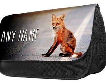 Personalized Fox Pencil Case - Make Up Bag - Game Console Boys Girls Gift Birthday Christmas