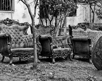 Black and White, photograph, Istanbul, Turkey, urbex, sofa, abandoned, worn out, chairs, old, art print,