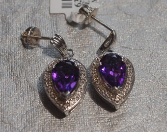 Pear Shaped Amethyst Earrings with Diamond Accents Set in Sterling Silver