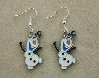 Frozen Earrings Olaf the Snowman Silver Plated