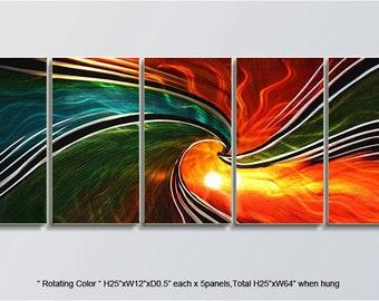 "Original Metal Wall Art Modern Indoor Outdoor Decor Direct From Artist ""Rotating Color"""