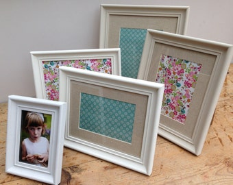 Hand made painted photo frames for 7x5 8x6 9x7 10x8 12x10 14x11 inch.  Shabby chic / vintage style.