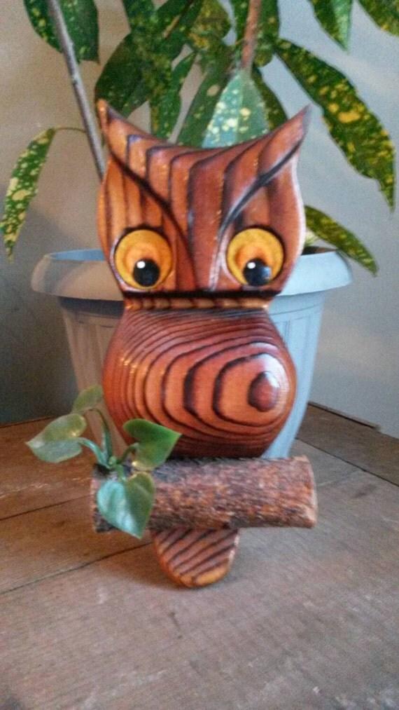 Wooden Owl Wall Decor : Vintage wooden owl wall decor