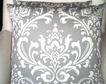 Gray Damask Pillow Cover, Decorative Throw Pillows, Grey Cushion, Couch Pillows, Storm Gray White, Euro Sham, Bed, One or More All Sizes