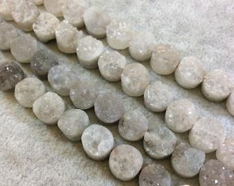 Natural Smokey Quartz Druzy Round Beads, 10mm dia, approx. 39 beads per strand.