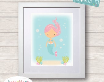 Pink mermaid in the sea,, Childrens / Art Nursery Print,  Wall Decor,  Wall Art. Can be personalized with a name.