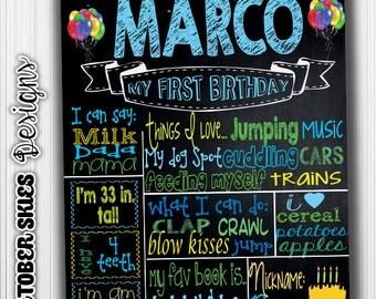 Balloon 1st Birthday Custom Printable Chalkboard / Birthday Chalkboard / Poster