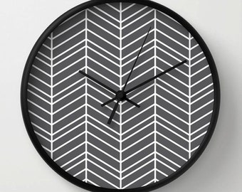 Wall Clock, gray chevron clock, white line, Decorative modern clock,  geometric design, Home living decor