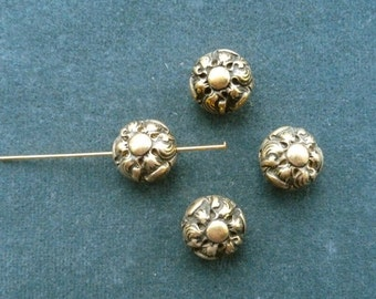 Vintage antique gold plated byzantine-inspired puffed round bead, 14mm, Quantity 4 (B-5)