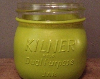 "Original Vintage Pea Green ""Kilner"" Glass Jar/Planter/Utensil Jar"