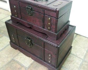 Handcrafted Wood Decorative Chest