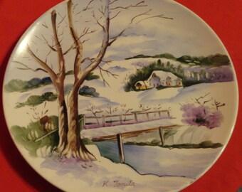 Snow scene plate