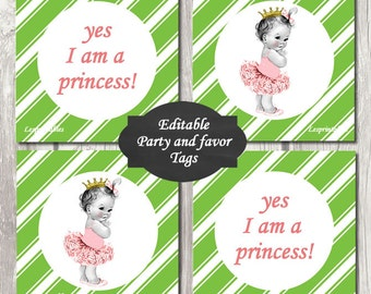Editable-baby princess Gift Tags Printables-Personalized-baby shower decorations-favor tags-thank you tags-INSTANT DOWNLOAD-write your own