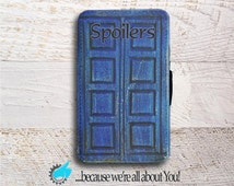Wallet Phone Case -Doctor Who River Song Spoilers Tardis Journal-for Samsung Galaxy S4 S5 S6 S6 S7 Edge and Mini -Can add Monogram, or Name!