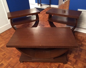 Art Deco, Brown Saltman Coffee Table and Accent Tables