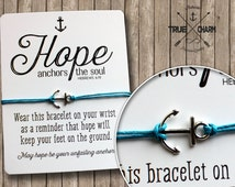 Hope Bracelet - Hope Anchors the Soul Bracelet - Cotton Cord Bracelet - Inspirational Gift - Sailor Bracelet - Inspirational Card