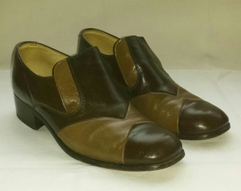 Vintage Pair of Mens Leather Block Heel Shoes Size 8