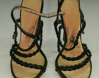 Vintage 1970s Black Woven Strappy Stiletto Shoes Size 2 by Roberta