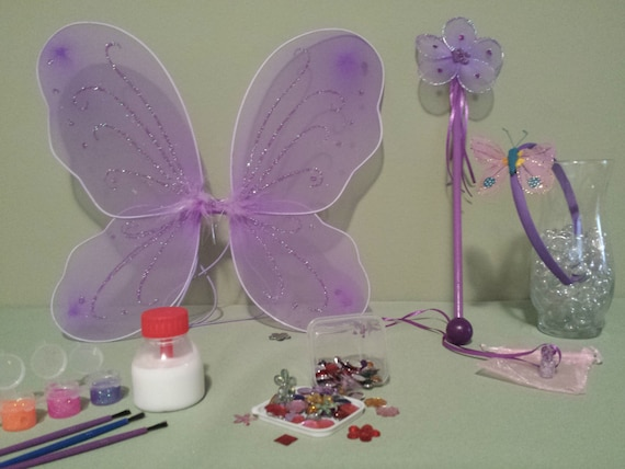 I 39 m a fairy craft kit purple wings wand by trixiestreasurebox for Princess wand craft kit