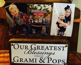 Custom Grandparent Name Plate Rustic Wooden Photo Block Your Grandparents Name