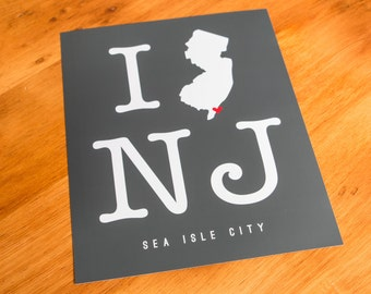 Sea Isle City, NJ - I Heart NJ - Art Print  - Your Choice of Size & Color!