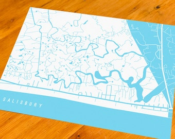 Salisbury, MA - Map Art Print  - Your Choice of Size & Color!