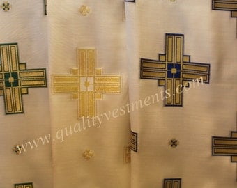 """Liturgical Vestment Brocade Nonmetallic Rayon Material -  58 Wide. - Sold by Meter (39"""") """"Straight Cross"""""""
