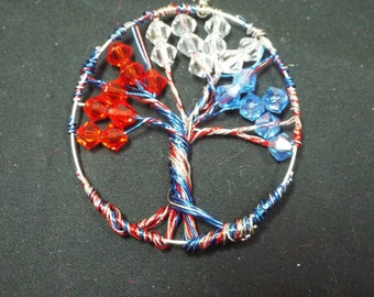 Tree of life Pendant, American / Freedom Red White and Blue Swarovski Crystal Wire Wrapped Tree, Independence Charm