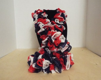Crochet Ruffled Scarf, Handmade Red White and Blue Independence Day / July 4th Winter / Warm Scarf, America / American Scarf