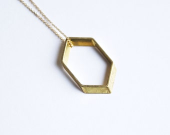 Modern Minimalist Honeycomb Hexagon Vintage Brass Pendant Necklace