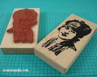 Isabelle Face Stamp / Invoke Arts Collage Rubber Stamps