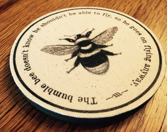 "Bumble Bee Coaster Set of 4 | Canvas or Burlap & Painted Wood | 4"" Diameter w/ Felt Bottoms ""The bumble bee doesn't know he shouldn't ..."