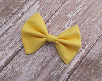 Solid Yellow Fabric Hair Bow Clip or Headband / Yellow Fabric Bow / Yellow Bow / Yellow Hair Bow Clip / Solid Yellow Bow / Yellow Hair Bow