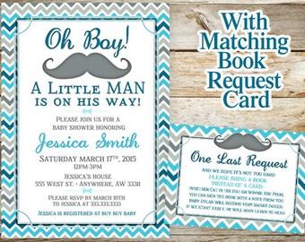Mustache Baby Shower Invitation - Little Man Baby Shower Invitation - Chevron Baby Shower Invitations - Baby Shower Invitation