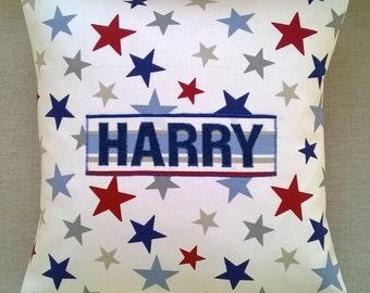 Personalised Boys Multi Stars & Stripes Cushion with Applique - Handmade