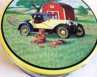 Vintage Bear Tin Box - Bears on picnic Cookie Tin Box by Fresh Beginnings Co.