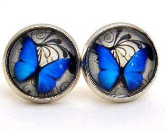 Cabochon Earrings (12mm) with blue butterfly