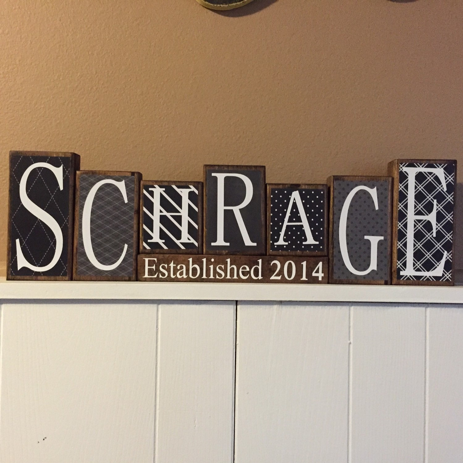 Custom personalized home decor wood blocks last name for Home decor names
