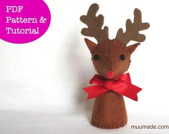 Reindeer Sewing Pattern, Stuffed Animal Pattern, Finger Puppet, Felt Animal, Christmas Tree Ornament, Handmade Gift for Children, Felt toy