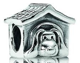 Sterling Silver THREADED Dog House Charm