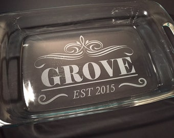 Personalized Laser Engraved Pyrex Casserole Baking Dish