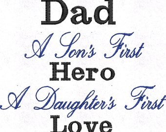Dad Pillowcase - Personalised Embroidered - Daughter's first Love & Son's first Hero - Fathers day