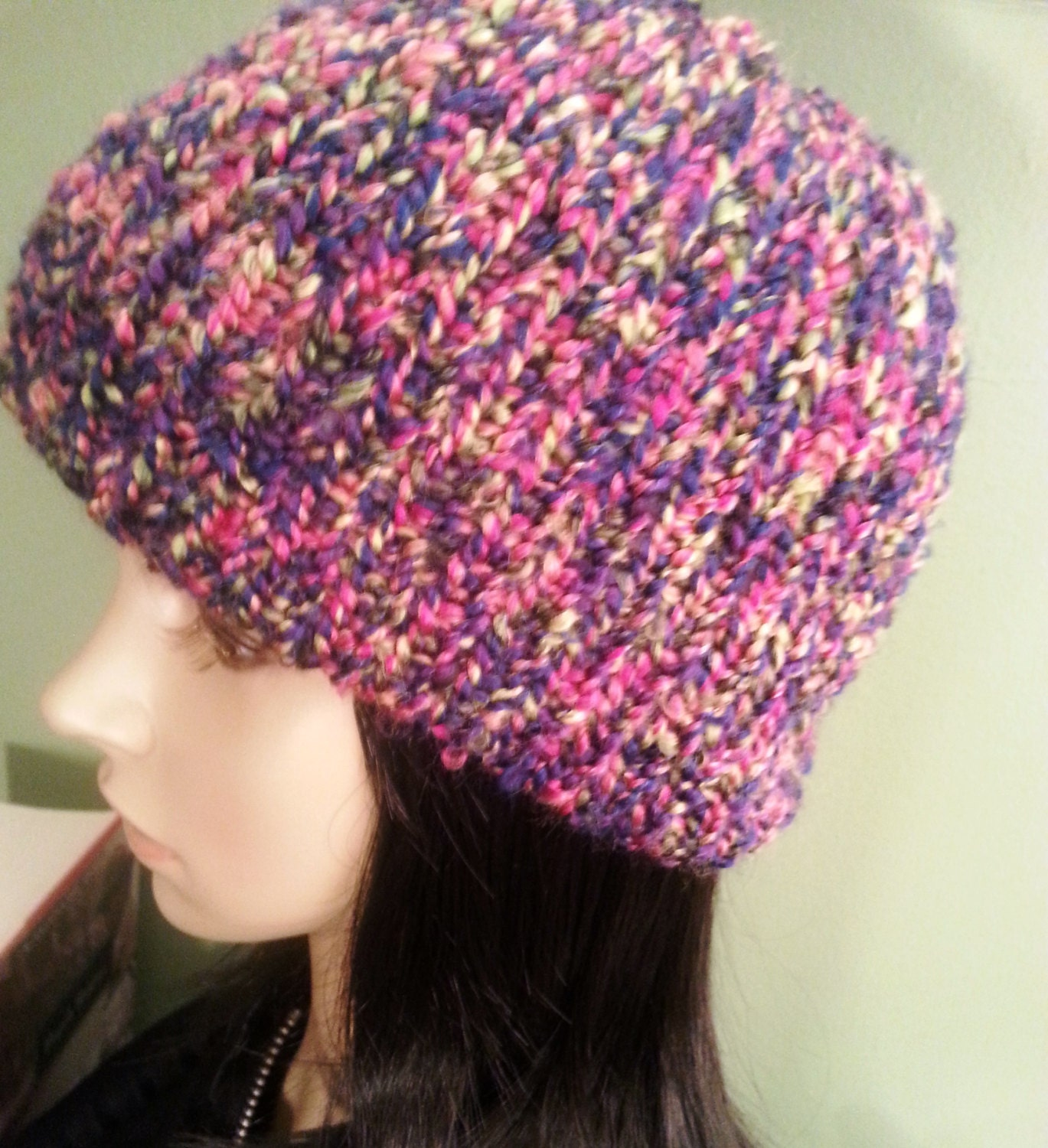 pink chunky knit hat womens winter hat unique hat by noratones
