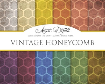 Grunge Honeycomb Digital Paper. Scrapbook Backgrounds, Old weathered patterns Commercial Use. Worn grungy shabby textures Clipart Download