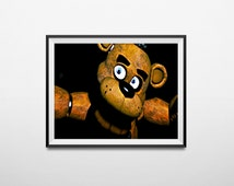 Five nights at Freddy's  PRINTABLE Freddy Fazbear attacks creepy poster! 20x11 size , With FREE bonus 11x8.5 mini poster printable!