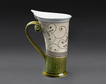Ceramic Mug, Tea Mug, Unique Mug, Handbuilding Techniques, ceramics and pottery, ceramic cup, tea cup, coffee cup, coffee mug, green mug