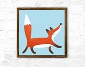 Nursery art print, Fox print, wall art decor, baby boy nursery, acrylic art, blue nursery decor, baby shower gift