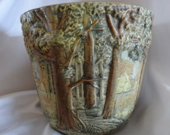 "Vintage Weller Art Pottery ""Forest"" Jardiniere Plant Pot with Trees"