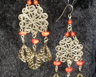 Dangel  handmade earrings with orange beads on flower