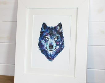 Wolf Selfie Fine Art Watercolour PRINT